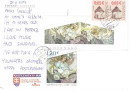 27L : Slovakia Art And Painting Stamp Used On Postcard - Slovakia