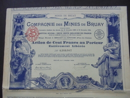 FRANCE - 62 - BRUAY,1930 - LOT DE 5 TITRES - CIE DES MINES DE BRUAY - ACTION DE 100 FRS - BELLE ILLUSTRATION - Unclassified