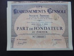 ALGERIE, ORAN 1928 - LOT DE 5 TITRES ETABLISSEMENTS GENSOLI - PART DE FONDATEUR - BELLE DECO - Zonder Classificatie