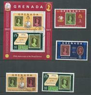 Grenada 1971 Post & Stamp Anniversary Set 4 & Miniature Sheet FU - Grenada (...-1974)