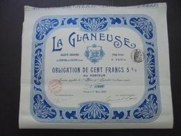 FRANCE - 75 - PARIS 1910 - LOT DE 5 TITRES - LA GLANEUSE - OBLIGATION 100 FRS 5% - BELLE DECO STYLE ART NOUVEAU - Unclassified