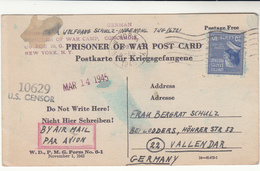 U.S. / P.O.W. Airmail / Germany Censorship / Concordia - Vereinigte Staaten