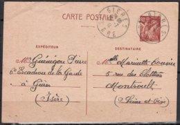 Militaria De 38 GIERES Isere    Entier  IRIS 80c  Du 6eme Escadron De La Garde     Posté   Le 26 7 1941 - Entiers Postaux