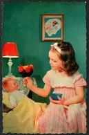 D4608 - Glückwunschkarte - Kleines Mädchen Puppe - Anniversaire