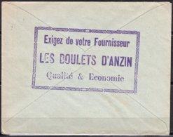 LES BOULETS D'ANZIN  Sur Enveloppe Au Verso PUB  Avec Semeuse 15c Brun-lilas Y.et.T.189  Voyagée - Advertising
