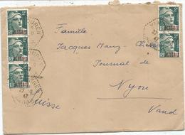 GANDON ALGERIE 2FRX5 LETTRE C. HEX PERLE YAKOUREN 22.10.47 ALGER POUR SUISSE AU TARIF - 1945-54 Marianne De Gandon