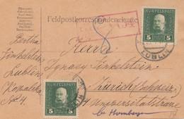 1917: Feldpostkarte, KuK Feldpost Lublin Zensiert Feldkirch, Nach Zürich - Autres - Europe