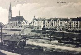 SWITZERLAND, SUISSE, SVIZZERA.........St. Gallen,      Train Station, St. Othmarkirche - SG St-Gall