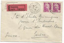 GANDON 15FR GRAVE PAIRE LETTRE EXPRES PARIS 9.11.1946 POUR SUISSE AU TARIF PEU COMMUN - 1945-54 Marianne De Gandon