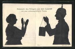 AK Heimkehr Des Kriegers Aus Dem Lazarett Mit Einer Selbstangefertigten Tasche, 1. Weltkrieg, Schattenbild - Scherenschnitt - Silhouette