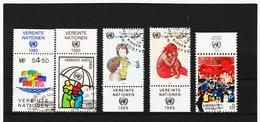 IMO399 VEREINTE NATIONEN UNO WIEN 1985/86 MICHL 49/50 + 53/55 Mit TABS Gestempelt SIEHE ABBILDUNG - Oblitérés