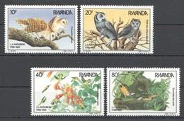 B134 1985 RWANDA FLORA & FAUNA BIRDS OWLS MICHEL 30 EURO 1SET MNH - Oiseaux