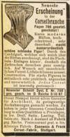 Original-Werbung/ Anzeige 1889 - CORSET-FABRIK ESENWEIN & FRANK - STUTTGART - Ca. 45 X 85 Mm - Werbung