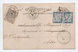 - Carte Postale FOIX Pour BRUGAIROLLES Pour CAPENDU (Aude) 5.12.1902 - TAXÉE 2 X 5 C. Bleu Type DUVAL - A ETUDIER - - Strafport