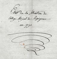 COLLÈGE ROYAL De PERPIGNAN En 1790 (Etat De La Situation Du) - Historische Dokumente