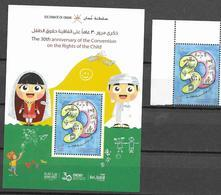 OMAN, 2019, MNH, CHILDREN, 30th ANNIVERSARY OF THE CONVENTION FOR THE RIGHTS OF THE CHILD,1v+S/SHEET - Childhood & Youth
