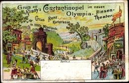 Lithographie Berlin Köpenick, Zirkus Renz,Karlstraße, Kiralfy's Konstantinopel, Neues Olympia Riesentheater - Autres