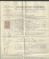 Autorisation D'inhumer Du 12 Décembre 1923 - Fiscaux