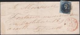 Belgie     .    OBP        .     7 Op  Brief (2 Scans)      .      O      .       Gebruikt  .   /    .    Oblitéré - 1851-1857 Médaillons (6/8)