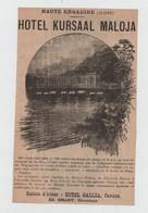 Hôtel Kursaal Maloja Engadine Gallia Cannes Smart Engelberg Titlis Kuranstalt Cattani  1902 - Advertising