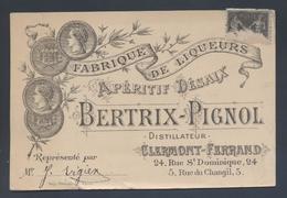 Carte De Visite Avis De Passage Bertrix Pignol Distillateur Apéritif Desaix Clermont Ferrand Rue St Dominique - Visiting Cards