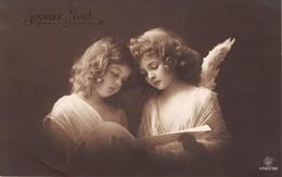 CPA Fantaisie - Ange - Joyeux Noël - Enfants - Fillettes - Angels