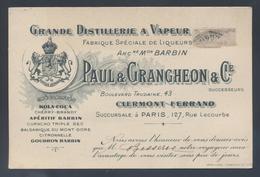 Carte De Visite Avis De Passage Paul § Grangeon Clermont Ferrand Bd Trudaine Distillerie à Vapeur Liqueurs Apéritifs - Visiting Cards