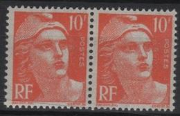 FR 1431 - FRANCE N° 722 Paire Neufs** Marianne De Gandon - 1945-54 Marianne De Gandon