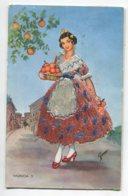 ESPAGNE BRODEE Tissée 691 VALENCIA  Jeune Femme  Et Sa Corbeille D(Oranges écrite Timbrée Vers 1960 - Valencia