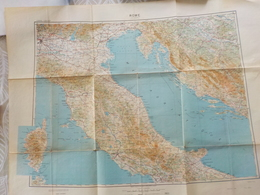 """Carte IGN 1943 - 1/ 1000 000° Italie Centrale Et N-E  De Milan à Bari De Corse à Trieste Et Split (""""Rome"""") - Topographical Maps"""