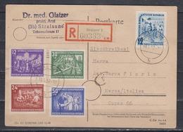 DDR R-Auslandskarte Stralsund 10.5.52 MiF 303/06,307 Nach Italien - DDR