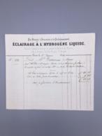 PARIS ECLAIRAGE A L'HYDROGENE LIQUIDE 1844 - France