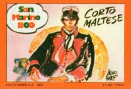 [DC0180] CARTOLINEA - MOLTO RARA - CORTO MALTESE - DIS. HUGO PRATT - RIPROD. FOGLIETTO FRANCOBOLLI SAN MARINO - Fumetti