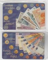GREECE - Drachmas & Euro Puzzle 2 Cards ,Exhibition At Athens(Parthenon Club),Tirage 1000, 04/01 - Griechenland