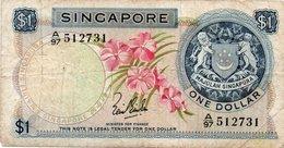 SINGAPORE 1 DOLLAR 1967 P-1a CIRC. - Singapore
