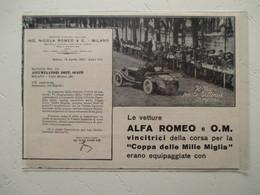 """Circuit Campari Italia  - Le Vevetture ALFA ROMEO  """" Coppa Delle Mille Miglia""""   - Coupure De Presse De 1927 - Documentos Históricos"""