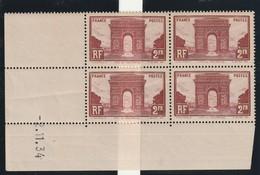 France Bloc De Quatre Coin Daté Du 258 De 1934 Tous Sans Charniere** Mais Un Pli Sur Deux Timbres Du Bas - Dated Corners