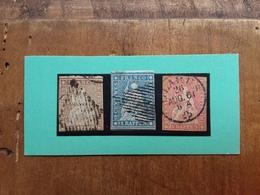 SVIZZERA 1870 - STRUBEL - Nn. 26c Filo Verde - 27d Filo Rosso - 28 Filo Verde + Spese Postali - 1854-1862 Helvetia (Non Dentellati)