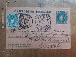 REGNO - Cartolina Postale Da 5 C. Con Francobollo Aggiunto Spedita All'estero + Spese Postali - 1878-00 Umberto I