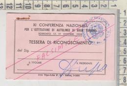 Abbonamenti Bus Autobus Tessera XI Conferenza Autolinee Gran Turismo Sorrento 1958 - Season Ticket