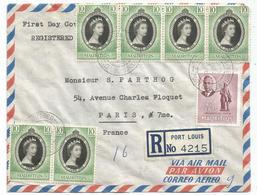 MAURITIUS 10CX6+25C LETTRE COVER REC AVION PORT LOUIS 1953 FDC - Maurice (1968-...)