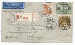 INDIE NEDERLAND 20C+2 1/2C +42 1/2C LETTRE AVION REC BANDOENG 1936 POUR AUSTRIA VIA ITALIA - Indes Néerlandaises