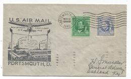 USA 1C+5C LETTRE COVER USA AIR MAIL PORTSMOUTH NO 12 1940 - Poste Aérienne