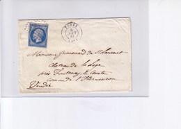 Lettre De Tours  Pour Fontenay Le Comte  1861 - Marcophilie (Lettres)
