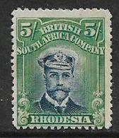 Rhodesia / B.S.A.Co.,GVR, 1913, Admiral, 5/= Deep Blue & Blue-green, Die II, Perf 14, MH * - Rhodesia Del Sud (...-1964)