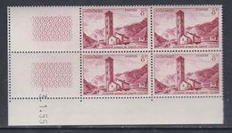 Andorre N° 143 XX  Clocher De Sainte-Coloma : 8 F. Brun-carminé En Bloc De 4 Coin Daté Du 3 . 1 . 55, Sans Charnière, TB - Nuovi