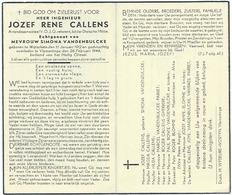 Doodsprentje CALLENS Jozef Rene: ° Wijtschate, 1912, Vlamertinge, 1944. Echt. Simona VANDENBULCKE Dietsche Militie - Religión & Esoterismo