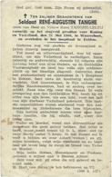 Doodsprentje Gesneuveld TANGHE René-Augustin: + Waarschoot, 21 Mei 1940. Overleden Te Eeklo. Zv. René TANGHE-LELEU - Religion & Esotericism
