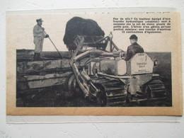Tracteur Motochenille Avec Fourche Hydraulique -  Caterpillar D2   - Coupure De Presse De 1950 - Tracteurs