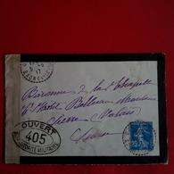 LETTRE BARONNE DE LA CHAPELLE HOTEL BELLEVUE MONTANA SIERRE VALAIS CACHET OUVERT PAR L AUTORITE MILITAIRE - France